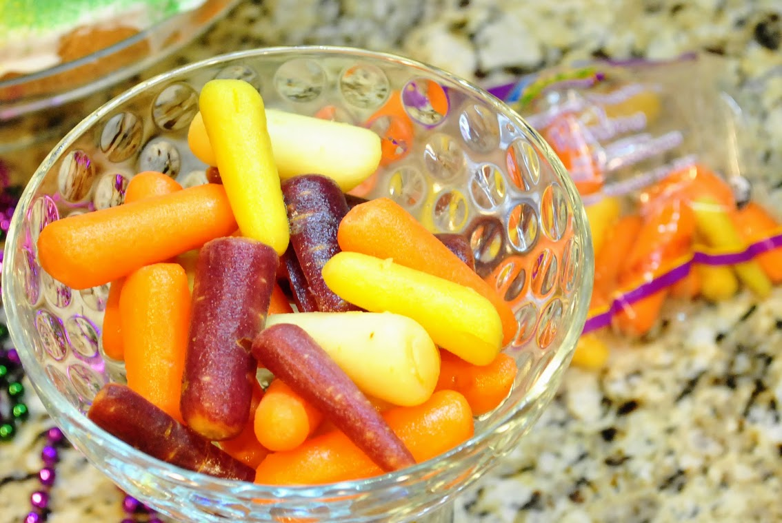 purple carrots yellow carrots used in mardi gras party food